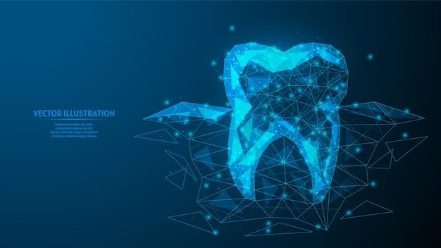 Zdrowy ząb z korzeniami wyrastającymi spod dziąseł. szczegółowa koncepcja stomatologiczna, higiena jamy ustnej. innowacyjna medycyna i technologia. 3d model szkieletowy low poly ilustracja.