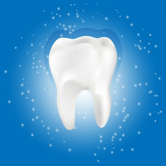 Zdrowy ząb ze świecącym efektem, wybielanie zębów koncepcja