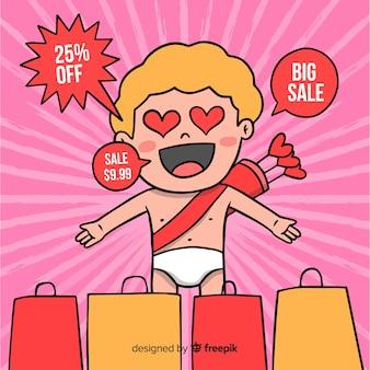 Zdziwiony amorek valentine sprzedaży tło