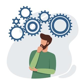 Zdziwiony mężczyzna szuka koncepcji burzy mózgów i analizy sytuacji w celu rozwiązania problemu