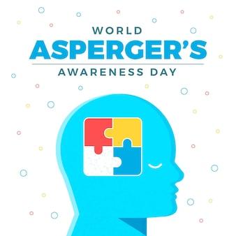 Zdziwiony umysł aspergers dzień świadomości płaska konstrukcja