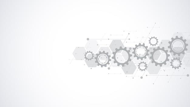 Zębatki i mechanizmy kół zębatych. zaawansowana technologia cyfrowa i inżynieria. streszczenie tło techniczne.