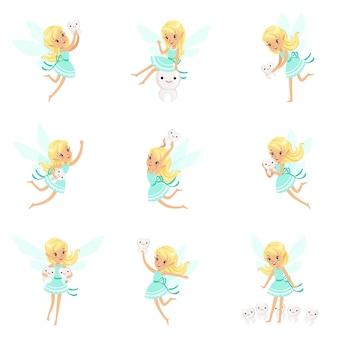Zębowa wróżka, blond dziewczynka w niebieskiej sukience ze skrzydłami i dziecięcymi zębami zestaw uroczej dziewczęcej kreskówki fantastyczne stworzenie z bajki