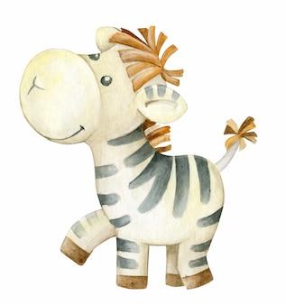 Zebra, akwarela ręcznie rysunek, na na białym tle. słodkie zwierzę, w stylu kreskówki.