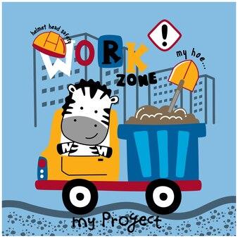 Zebra na ciężarówce zabawna kreskówka zwierzęca