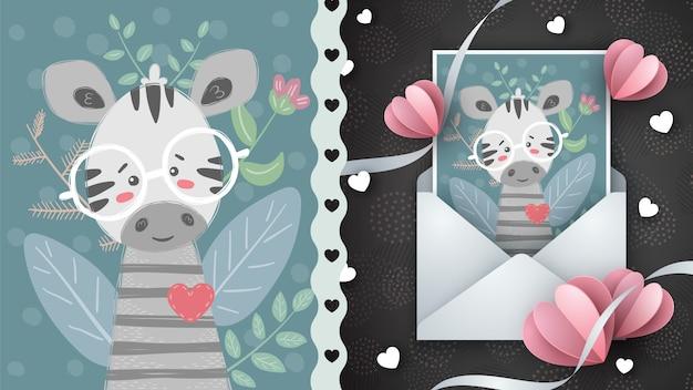 Zebra okulary, pomysł na kartkę z życzeniami