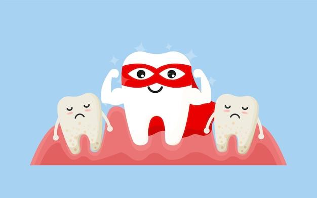 Zęby bohatera. superbohaterowie szczęśliwych zębów. koncepcja higieny i pielęgnacji zębów. higiena jamy ustnej, czyszczenie zębów., ilustracja,