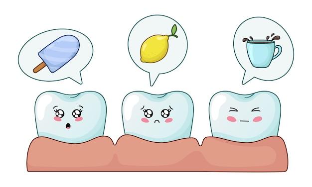 Zęby kawaii z emodji, opieki stomatologicznej, stomatologii