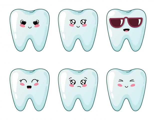 Zęby kawaii z różnymi emodji, postaci z kreskówek
