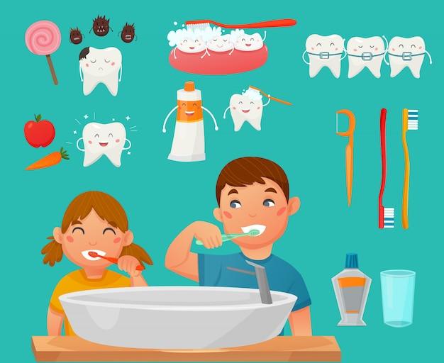 Zęby szczotkujące dzieci zestaw ikon