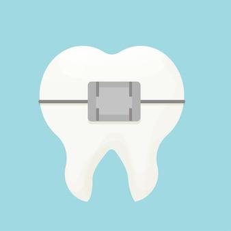 Zęby ząb z aparatami ortodontycznymi na białym tle ilustracji wektorowych ortodoncja medyczna