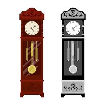 Zegar analogowy w wersji starej i w skali szarości