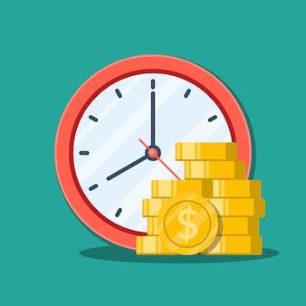 Zegar biurowy i pieniądze.