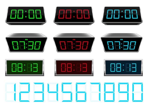 Zegar cyfrowy, na białym tle na tle