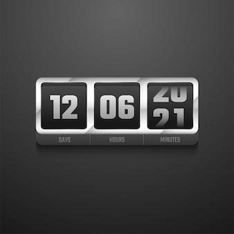 Zegar cyfrowy w kolorze metalicznym na przyszły lub w trakcie projektowania.