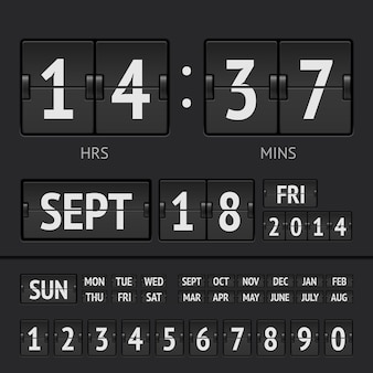 Zegar cyfrowy z czarną tablicą wyników z datą i godziną tygodnia