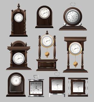 Zegar czas antyczny vintage starożytny klasyczny stary tradycyjny retro. zestaw starych zegarów realistycznych.