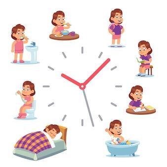 Zegar dzienny dla ilustracji dziewczyny