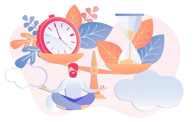Zegar i klepsydra na skale biznesmen medytować