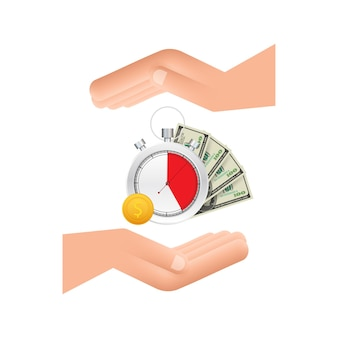 Zegar i pieniądze w rękach zegar i worek czas to pieniądz szybki okres spłaty kredytu konto oszczędnościowe