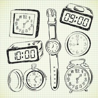 Zegar i zegarek doodle