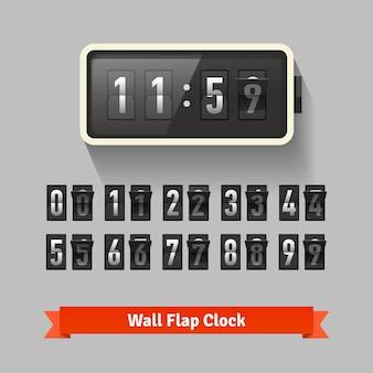 Zegar klapki ściennej, szablon licznika liczb