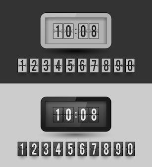 Zegar klapowy. zestaw liczb. wersje czarno-białe.