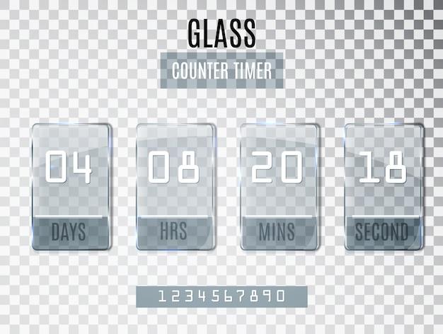 Zegar licznika szkła na przezroczystym tle.