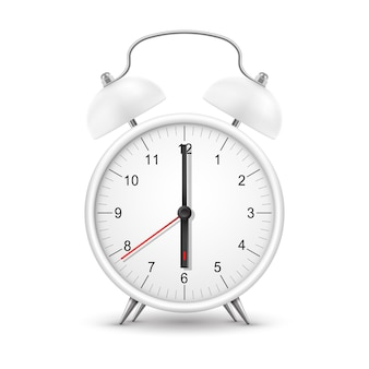 Zegar lub budzik, realistyczny zegarek z porannym dzwonkiem. retro budzik biały okrągły z czerwoną strzałką i czarnymi wskazówkami minutowymi i sekundowymi na tarczy zegara