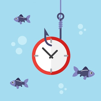 Zegar na haku wędkarskim