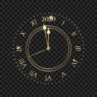 Zegar nowego roku 2020. złoty zegar z odliczaniem do 2020 roku