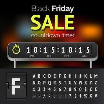 Zegar odliczający do wyprzedaży w czarny piątek z alfabetem
