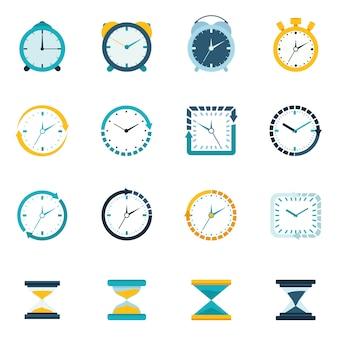 Zegar płaski zestaw ikon