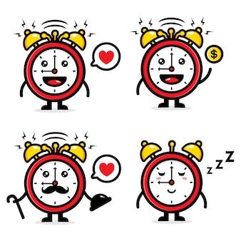 Zegar projektu maskotka wektor zestaw