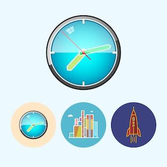 Zegar ścienny. zestaw z 3 okrągłymi kolorowymi ikonami, zegarem ściennym, kolorowym zegarkiem, nowoczesnymi budynkami, centrum biznesowym, rakietą, ilustracją wektorową