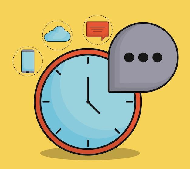 Zegar z ikonami powiązanymi z komunikacją