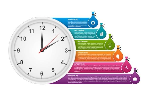 Zegar z naklejkami na broszury i prezentacje