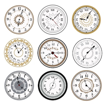 Zegar zegarek alarmy wektorowe ikony ilustracja