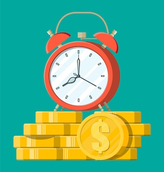 Zegar, złote monety dolara. roczne dochody, inwestycje finansowe, oszczędności, lokata bankowa, przyszłe dochody, świadczenia pieniężne. czas to pieniądz.