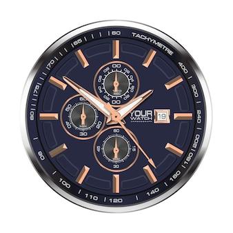 Zegarek chronograf stal nierdzewna miedziana