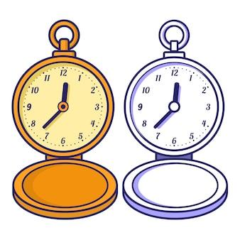 Zegarek kieszonkowy. kolorowanka dla dzieci.