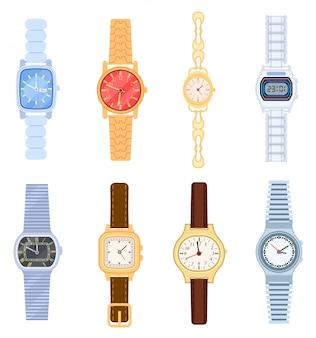 Zegarek na białym tle zestaw