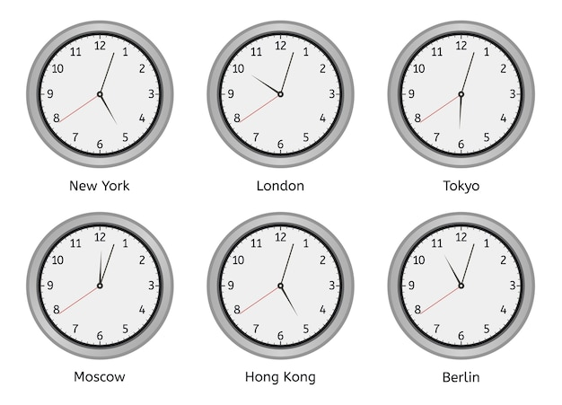 Zegary stref czasowych. nowoczesna okrągła tarcza zegara ściennego, zegar stref czasowych dzień i noc, zestaw ilustracji różnicy czasu na całym świecie. strefa zegara, czas w hotelu w berlinie, hongkongu i moskwie