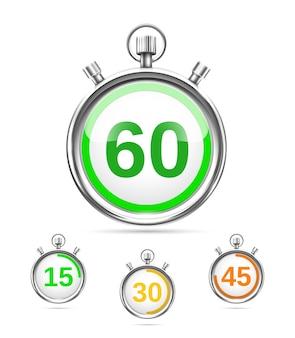 Zegary wektorowe lub stopery ustawiają każdy z nich pokazujący inny kolorowy czas, który upłynął na tarczy 15 30 45 i 60 elementów projektu na białym tle