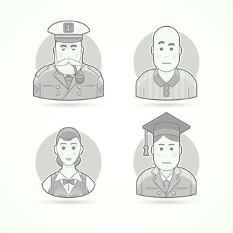 Żeglarz, pies morski, sędzia piłkarski, kelnerka, absolwent. zestaw ilustracji postaci, awatarów i osób. czarno-biały styl konturowy.