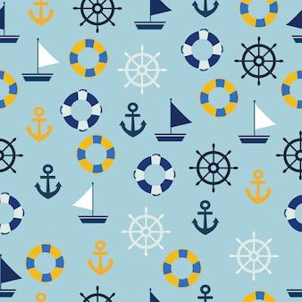 Żeglarza bezszwowy wzór morza dekoraci bezszwowy wzór