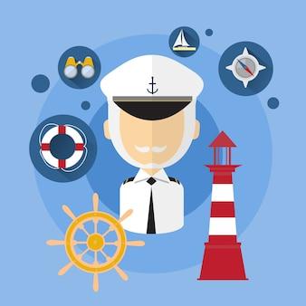 Żeglarza mężczyzna kapitanu statku załogi ikony płaska wektorowa ilustracja