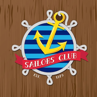 Żeglarzi świetlicowy logo z arkaną i odznaką na drewnianym tle