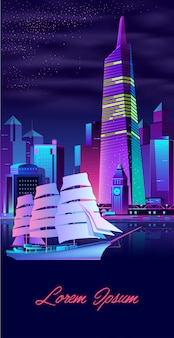Żeglowanie jacht w nowożytnym miasto zatoki kreskówki wektorze