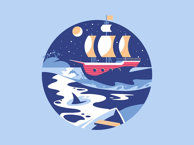 Żeglowanie po morzu. żaglówka na fali oceanu, podróż morska jachtem, ilustracja